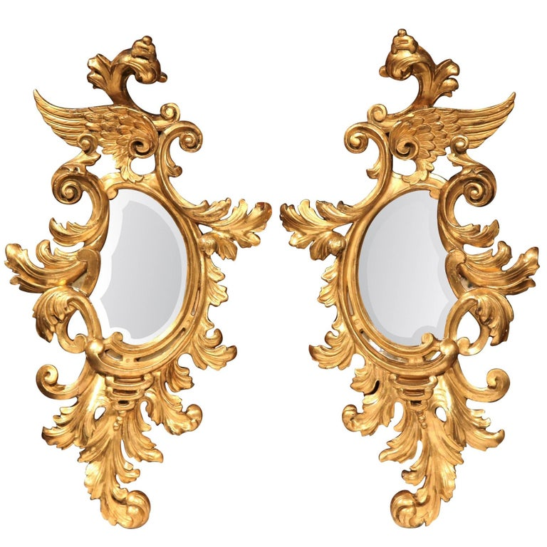 Pair of Mid-19th Century French Louis XV Carved Giltwood Beveled Mirrors