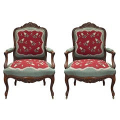 Pair of Mid-19th Century French Louis XV Style Carved Armchairs