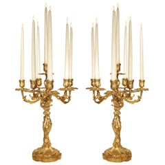 Pair of Mid-19th Century French Louis XV Style Seven Arm Candelabras