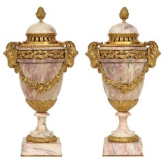 Pair of Mid-19th Century French  Louis XVI St. Marble and Ormolu Cassolettes