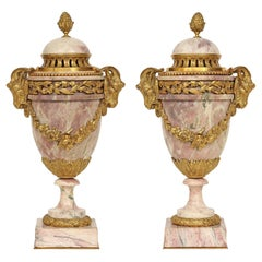 Pair of Mid-19th Century French Louis XVI Style Marble and Ormolu Cassolettes