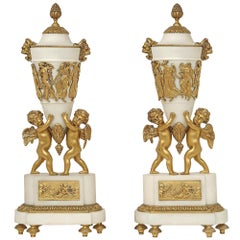 pair of mid 19th century French Louis XVI st. mounted cassolettes