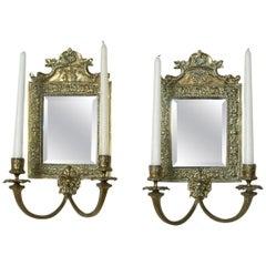Pair of Mid-19th Century French Napoleon III Period Bronze Mirror Sconces