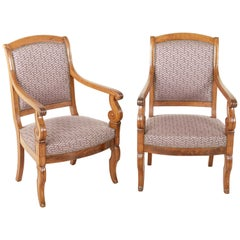 Pair of Mid-19th Century French Restauration Period Walnut Armchairs or Bergeres