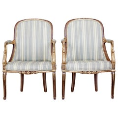 Pair of Mid-19th Century French Walnut and Gilt Armchairs
