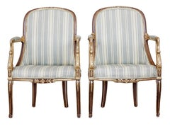 Pair of mid 19th century French walnut and gilt armchairs