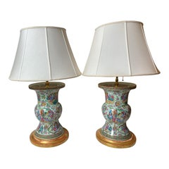 Pair of Mid-19th Century Gu Shape Chinese Export Porcelain Lamps