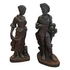 Pair of Mid-19th Century Hand Carved Figures