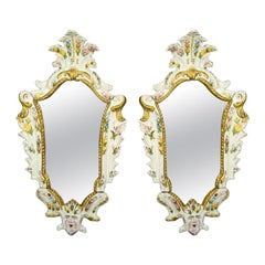 Pair of Mid-19th Century Italian Majolica Mirrors