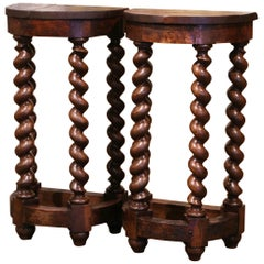 Pair of Mid-19th Century Louis XIII Oak Barley Twist Demilune Side Tables