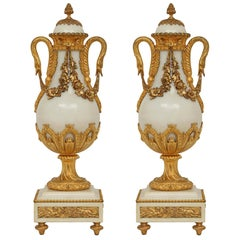 Pair of Mid-19th Century Louis XVI St. Marble and Ormolu Mounted Cassolettes