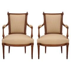 Pair of Mid 19th Century Louis XVI St. Walnut Armchairs