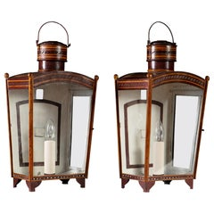 Pair of Mid-19th Century Red Tole Metal Wall Lanterns with Glass Panels