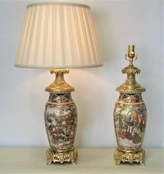 Pair of mid 19th Century Satsuma Bronze Mounted Electrified Oil Lamp