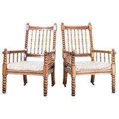 Pair of Mid-19th Century Scottish Oak Bobbin Chairs
