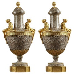 Pair of Mid-19th Century Vases in Ural Granite and Gilt Bronze, Louis XVI Style