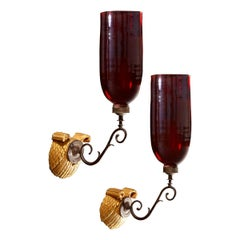 Pair of Mid-19th Century Wall Sconces with Red Glass Hurricane Shades
