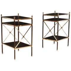 Pair of Mid-20th Century 3-Tier Brass and Leather Étagères after Maison Jansen