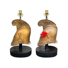 Pair of Mid-20th Century Attributed to Maison Jansen Gilt Metal Helmets as Lamps