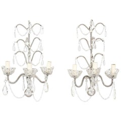 Pair of Mid-20th Century Bead Encrusted Wall Sconces