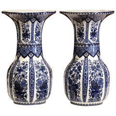 Pair of Mid-20th Century Belgium Blue and White Painted Faience Delft Vases