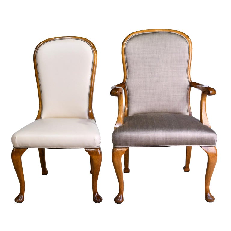 Pair of Mid-20th Century Birch Armchairs with Upholstered Back & Seats For Sale 3
