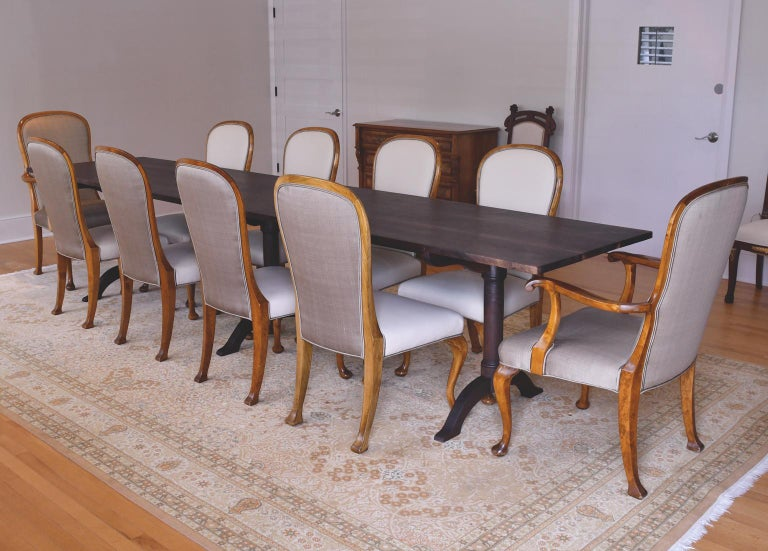Pair of Mid-20th Century Birch Armchairs with Upholstered Back & Seats For Sale 4