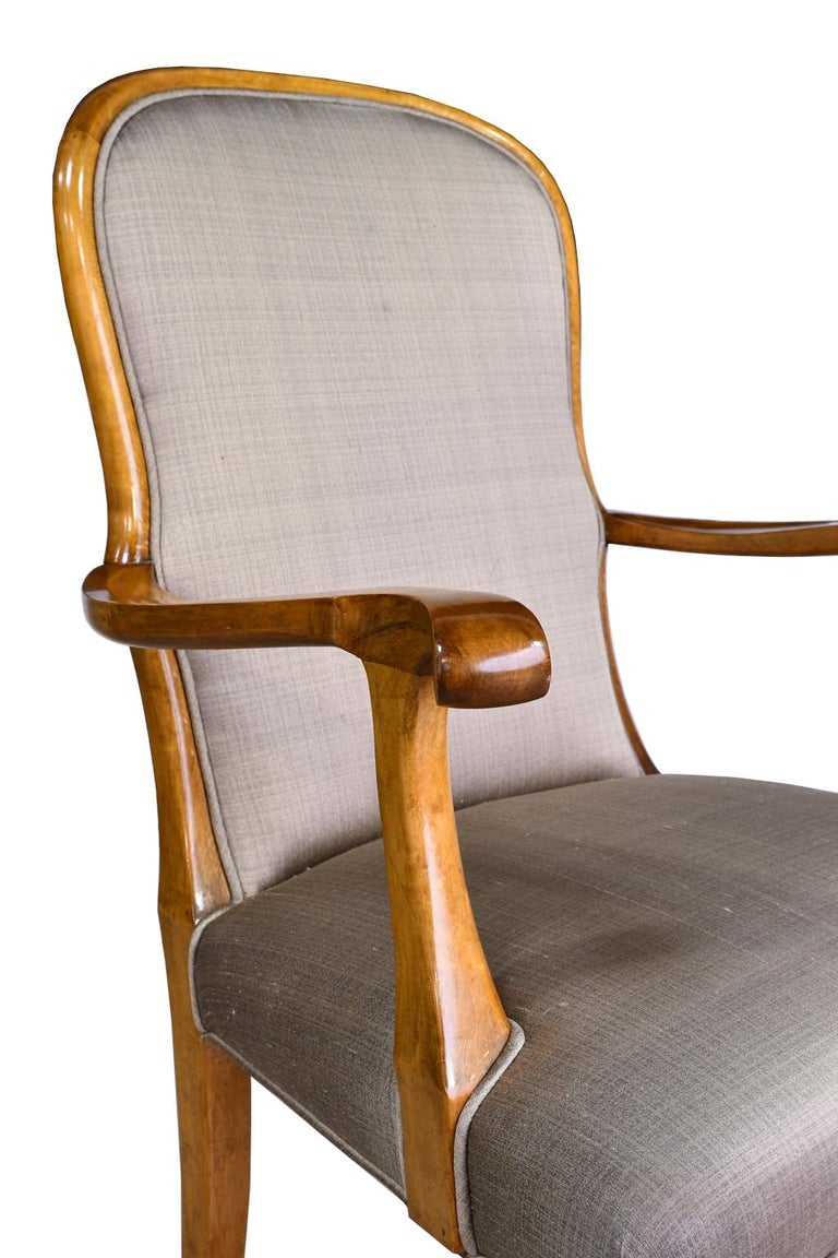 Pair of Mid-20th Century Birch Armchairs with Upholstered Back & Seats For Sale 2