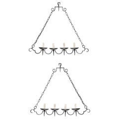 French Pair of Black Iron Scalloped Chandeliers, Great for a Kitchen Island!