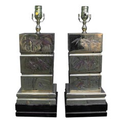 Pair of Mid-20th Century Brass Lamps with Etched Bamboo Motif