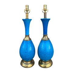 Pair of Mid-20th Century Brass Mounted Blue Pottery Lamps