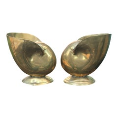 Pair of Mid-20th Century Brass Nautilus Shells / Spoon Warmers