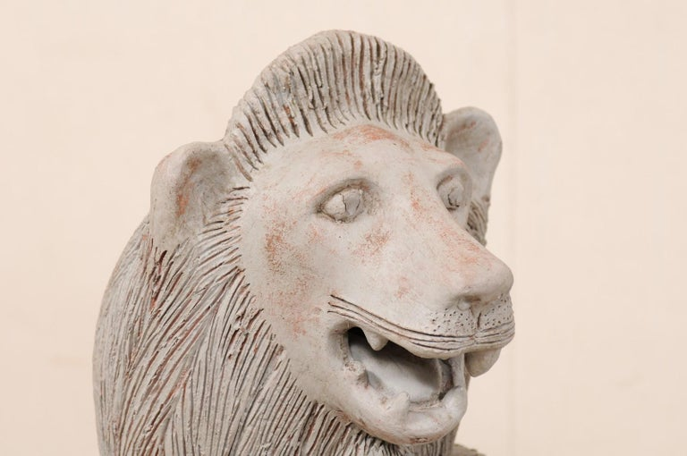 Pair of Mid-20th Century British Colonial Shielded Terracotta Lions For Sale 1