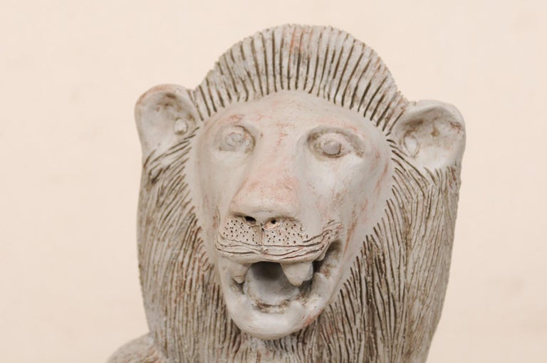 Pair of Mid-20th Century British Colonial Shielded Terracotta Lions For Sale 2