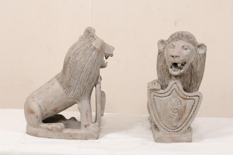 Pair of Mid-20th Century British Colonial Shielded Terracotta Lions For Sale 3