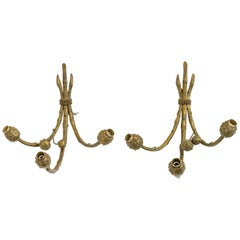 Pair of Mid-20th Century Bronze Conker Wall Lights