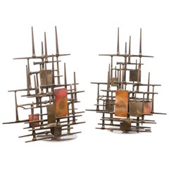 Pair of Mid-20th Century Brutalist Wall Sconces, circa 1960
