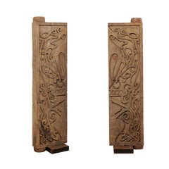 Pair of Mid-20th Century Carved Doors from Borneo on Stands