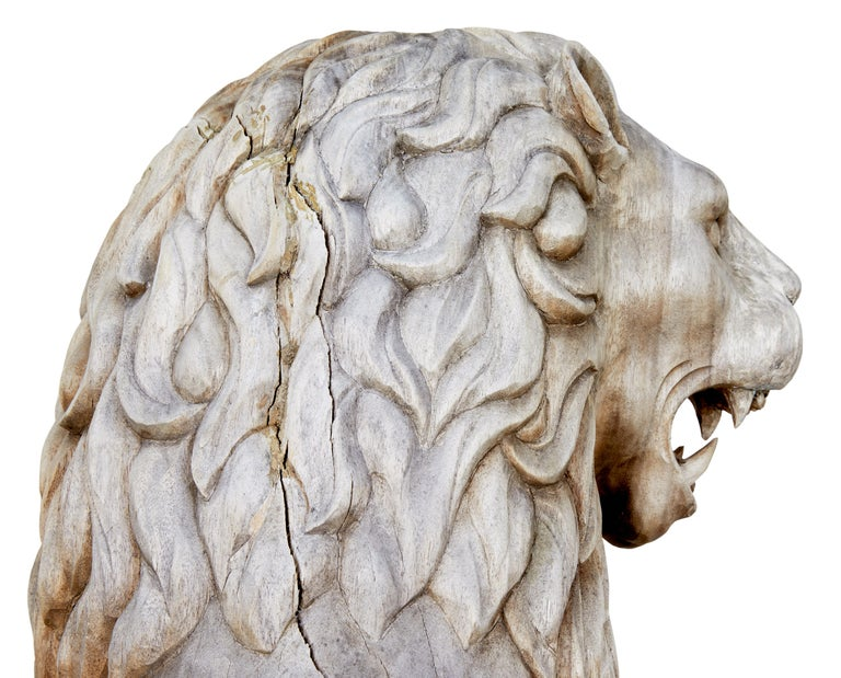 Hand-Carved Pair of Mid-20th Century Carved Solid Wood Lions For Sale