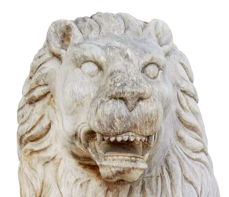 Pair of Mid-20th Century Carved Solid Wood Lions For Sale 1