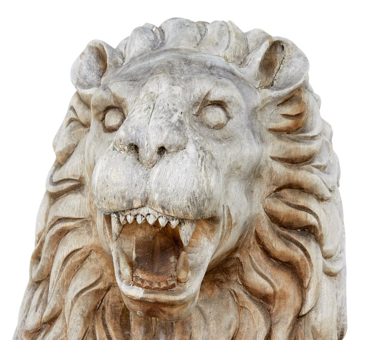 Pair of Mid-20th Century Carved Solid Wood Lions For Sale 3
