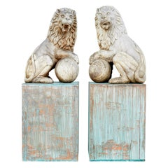 Pair of Mid 20th Century Carved Solid Wood Statue Lions