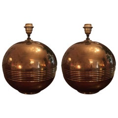 Pair of Mid-20th Century Ceramic Circular Table-Lamps Made in Italy 1970s