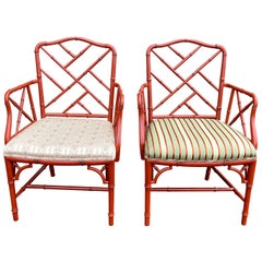 Pair of Mid-20th Century Chinese Chippendale Faux Bamboo Armchairs