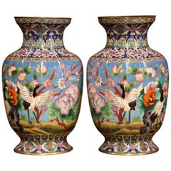 Pair of Mid-20th Century Chinese Cloisonné Vases with Bird and Floral Decor