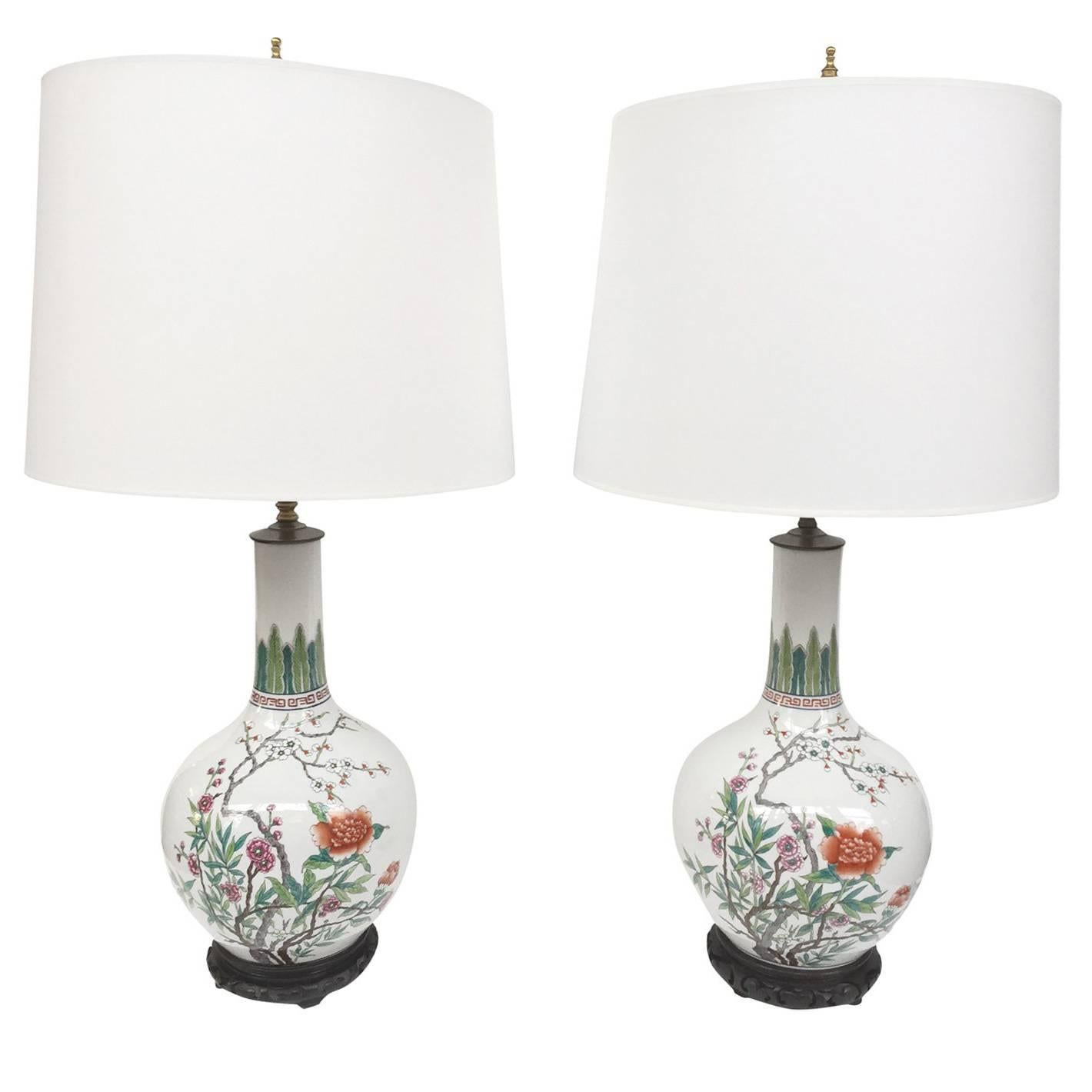 Mid 20th Century Chinese Porcelain Famille Rose Vase Converted Into Table  Lamp For Sale At 1stdibs