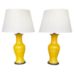 Pair of Mid-20th Century Chinese Yellow Vase Lamps