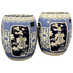 Pair of Mid-20th Century Chinoiserie Blue and White Garden Stool Flower Pot Seat