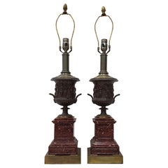 Pair of Mid-20th Century Classical Roman Bronze Urns and Marble Table Lamps
