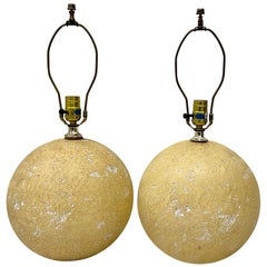 Pair of Mid-20th Century Cratered Moonscape Table Lamps